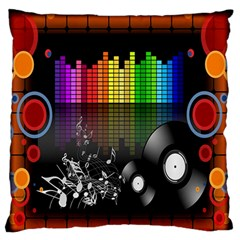 Music Pattern Large Flano Cushion Case (two Sides)