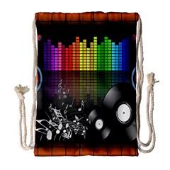 Music Pattern Drawstring Bag (Large)