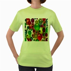 Colorful Bubbles Squares Background Women s Green T-Shirt