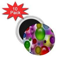 Colorful Bubbles Squares Background 1.75  Magnets (10 pack)