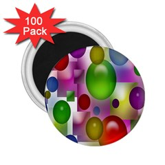 Colorful Bubbles Squares Background 2.25  Magnets (100 pack)