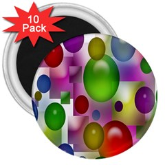 Colorful Bubbles Squares Background 3  Magnets (10 Pack)