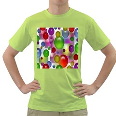 Colorful Bubbles Squares Background Green T Shirt