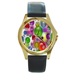 Colorful Bubbles Squares Background Round Gold Metal Watch