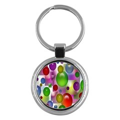 Colorful Bubbles Squares Background Key Chains (round)