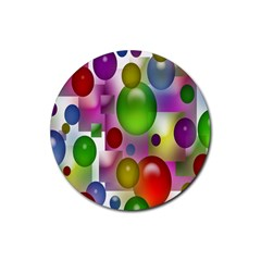 Colorful Bubbles Squares Background Rubber Round Coaster (4 Pack)