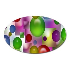 Colorful Bubbles Squares Background Oval Magnet