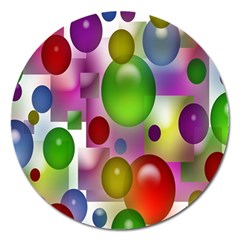 Colorful Bubbles Squares Background Magnet 5  (Round)