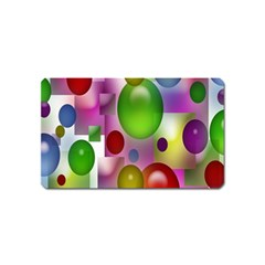Colorful Bubbles Squares Background Magnet (name Card)