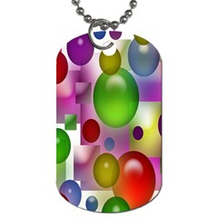 Colorful Bubbles Squares Background Dog Tag (One Side)