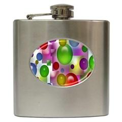 Colorful Bubbles Squares Background Hip Flask (6 oz)