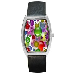 Colorful Bubbles Squares Background Barrel Style Metal Watch