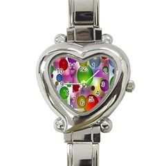 Colorful Bubbles Squares Background Heart Italian Charm Watch