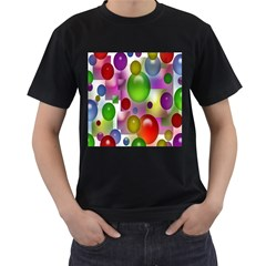 Colorful Bubbles Squares Background Men s T-Shirt (Black) (Two Sided)