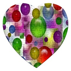 Colorful Bubbles Squares Background Jigsaw Puzzle (Heart)