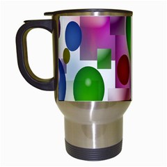 Colorful Bubbles Squares Background Travel Mugs (white)