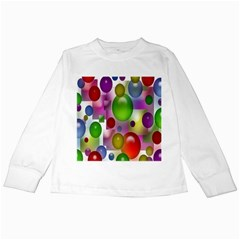 Colorful Bubbles Squares Background Kids Long Sleeve T-Shirts