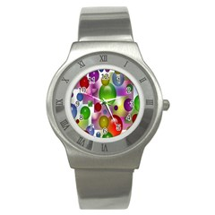 Colorful Bubbles Squares Background Stainless Steel Watch