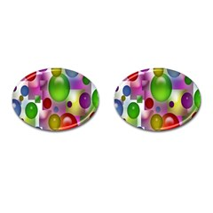 Colorful Bubbles Squares Background Cufflinks (Oval)