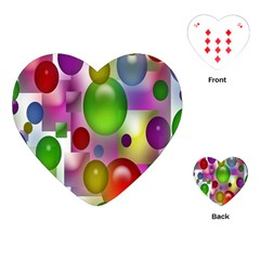 Colorful Bubbles Squares Background Playing Cards (Heart)