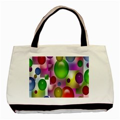 Colorful Bubbles Squares Background Basic Tote Bag
