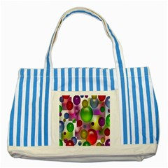 Colorful Bubbles Squares Background Striped Blue Tote Bag