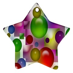 Colorful Bubbles Squares Background Star Ornament (Two Sides)