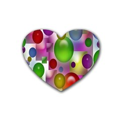 Colorful Bubbles Squares Background Rubber Coaster (Heart)