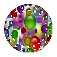 Colorful Bubbles Squares Background Round Filigree Ornament (Two Sides)