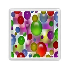 Colorful Bubbles Squares Background Memory Card Reader (square)