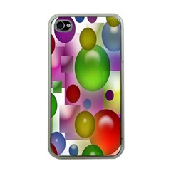 Colorful Bubbles Squares Background Apple iPhone 4 Case (Clear)