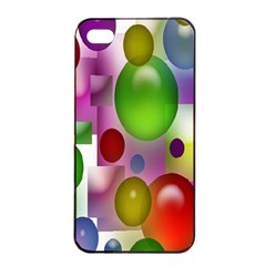 Colorful Bubbles Squares Background Apple iPhone 4/4s Seamless Case (Black)