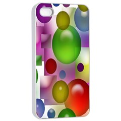 Colorful Bubbles Squares Background Apple iPhone 4/4s Seamless Case (White)