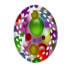 Colorful Bubbles Squares Background Ornament (Oval Filigree)