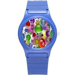 Colorful Bubbles Squares Background Round Plastic Sport Watch (S)