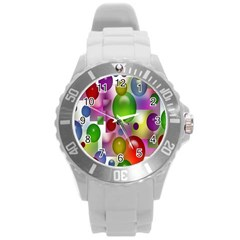 Colorful Bubbles Squares Background Round Plastic Sport Watch (l)