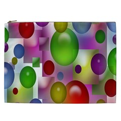 Colorful Bubbles Squares Background Cosmetic Bag (XXL)