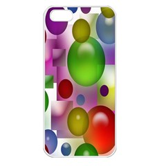 Colorful Bubbles Squares Background Apple iPhone 5 Seamless Case (White)