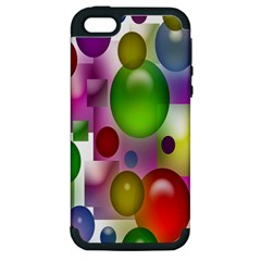 Colorful Bubbles Squares Background Apple iPhone 5 Hardshell Case (PC+Silicone)