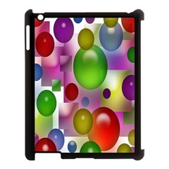 Colorful Bubbles Squares Background Apple iPad 3/4 Case (Black)