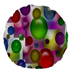 Colorful Bubbles Squares Background Large 18  Premium Round Cushions