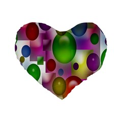 Colorful Bubbles Squares Background Standard 16  Premium Heart Shape Cushions