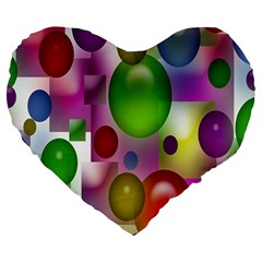 Colorful Bubbles Squares Background Large 19  Premium Heart Shape Cushions