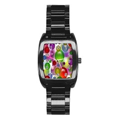 Colorful Bubbles Squares Background Stainless Steel Barrel Watch