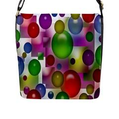 Colorful Bubbles Squares Background Flap Messenger Bag (L)