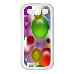 Colorful Bubbles Squares Background Samsung Galaxy S3 Back Case (white)