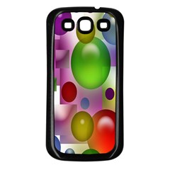 Colorful Bubbles Squares Background Samsung Galaxy S3 Back Case (Black)
