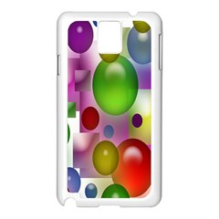 Colorful Bubbles Squares Background Samsung Galaxy Note 3 N9005 Case (White)