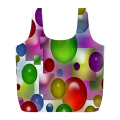 Colorful Bubbles Squares Background Full Print Recycle Bags (L)