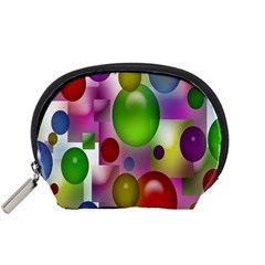 Colorful Bubbles Squares Background Accessory Pouches (Small)